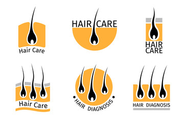 Hair follicle diagnostics logos set