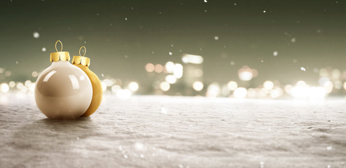Snowy Background with Christmas Baubles