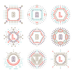 Line hipster monograms