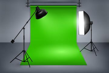 Film studio with green screen