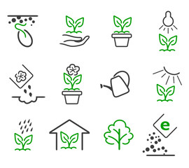 Wall Mural - Line sprout and plant growing vector icons set
