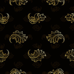 Wall Mural - Gold vintage seamless floral pattern