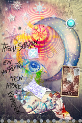Garden Poster Imagination Esoteric graffiti with starry moon,scraps and stamps