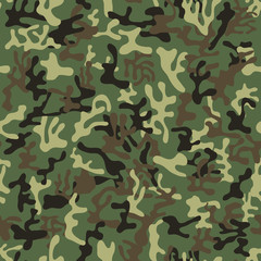 Seamless orange, red, yellow military camouflage pattern - Vector and illustration