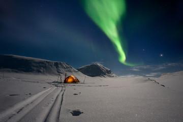 Aluminium Prints Arctic Camping unter Nordlichtern in Lapland Schweden