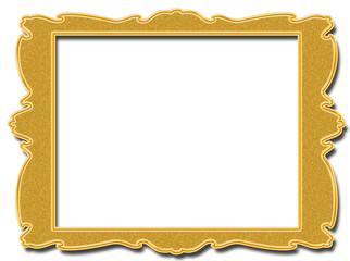 Golden square frame isolated on white background
