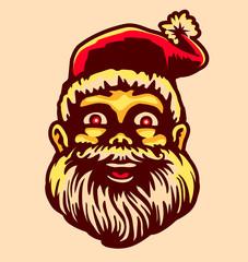 Retro vintage happy smiling cartoon Santa Claus head, Christmas holiday vector illustration
