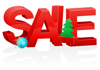 christmas and new year volumetric red inscription sale vector il