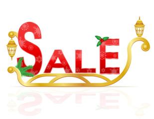 santa claus sleigh pulling inscription sale vector illustration