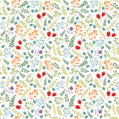 Floral vector colorful seamless pattern with garden flowers and plants