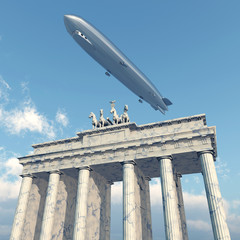 Zeppelin über dem Brandenburger Tor