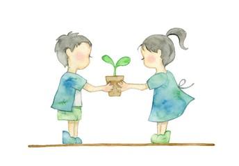 子供と新芽、エコイメージ