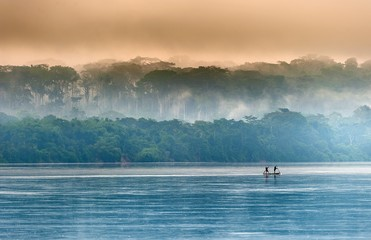 Sangha River. Morning fog on the African river Sangha.