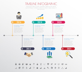 timeline infographics with icons set.