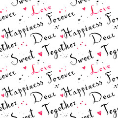 Handwritten vintage ink cursive font pattern with splashes and pink watercolor hearts