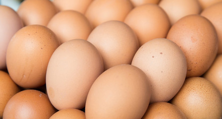 fresh eggs on tray at market