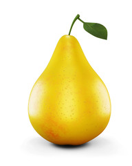Ripe yellow pear on white background. 3d.