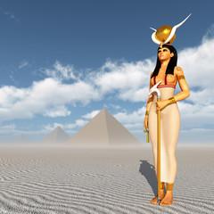 Göttin Hathor und Pyramiden