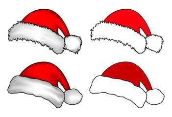 Santa hat, Christmas cap icon set, symbol, design. Winter vector illustration isolated on white background.
