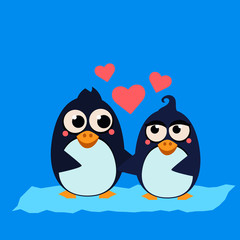 Cute Penguin Couple in Love. Vector Illustration