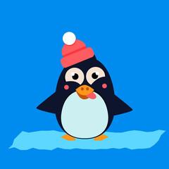 Penguin Wearing Hat Grimacing on Ice. Vector Illustartion