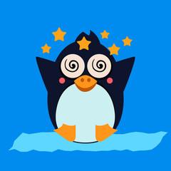 Penguin Feeling Dizzy. Vector Illustration
