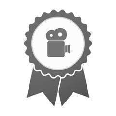 Vector badge icon with a film camera