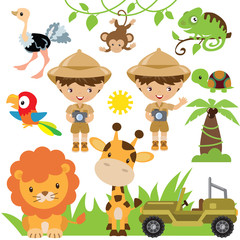 Safari boy vector illustration