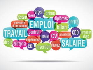 nuage de mots : travail emploi salaire