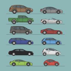 car icon set different color