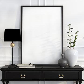 Mock up poster on the black desk with gold decoration