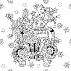 Christmas car gift doodle zentangle vector.