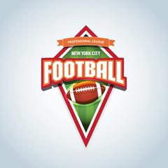 American football logo template. American football emblem, logotype template, t-shirt apparel design. American football ball. Sport badge for tournament or championship.