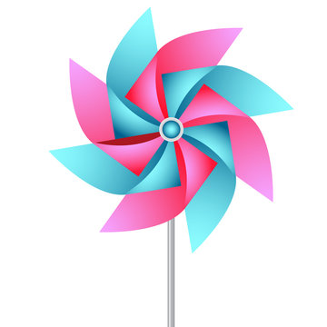 Vector paper weather vane in pink and blue