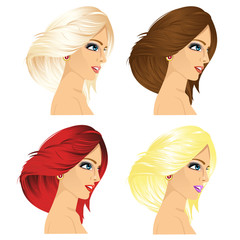 four women profile with different hair color