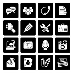 Black Chat Application and communication Icons - vector icon set