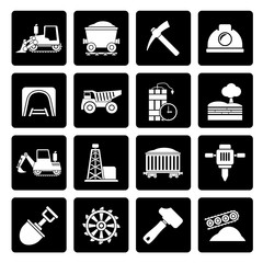 Black Mining and quarrying industry icons - vector icon set