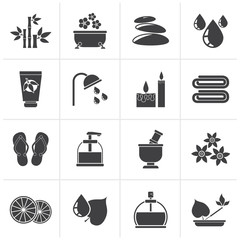 Black Spa and relax objects icons - vector icon set