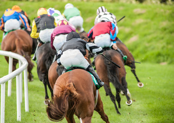close up of horse race turning a corner