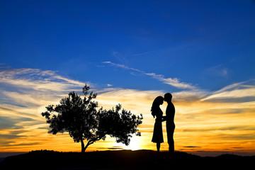 Wall Mural - pareja de enamorado en la puesta de sol