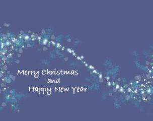 blue Christmas card with shiny stars