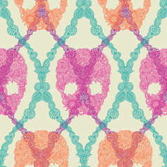 Skulls damask seamless pattern