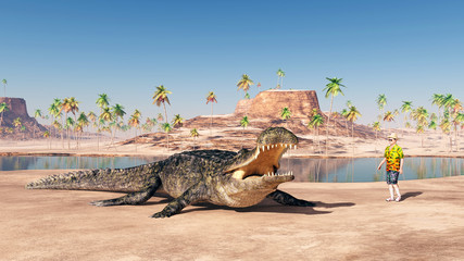 Sarcosuchus and Tourist