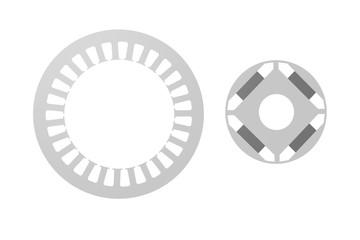 Elektroblech eines Synchronmotors mit Magneten
