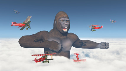 Biplanes aircrafts attack a giant gorilla