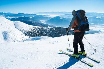 skier on snowy mountain