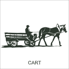 Silhouette  horse and carriage  with coachman.