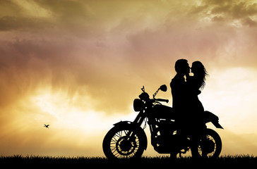 Fototapete - couple kissing on motorcycle