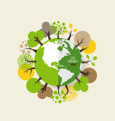 ECO FRIENDLY. Ecology concept with Green Eco Earth and Trees. Ve