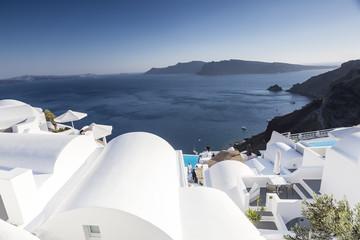 Luxury resort swimming pool in Santorini, Greece